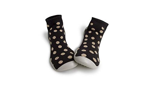 Collegien Disco Gold Hausschuhe Socken schwarz mit goldenen Punkten Gr. 34/35