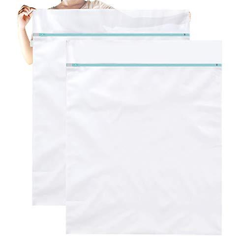 OTraki Large Washing Machine Bag 2 Pack 43 x 35 inch XL Mesh Laundry Bags Heavy Duty Zipper Big Dryer Wash Net for Delicates Bedding Blanket Pet Bed Camp Travel Dorm Jumbo Netted Organizer White