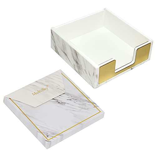 """Marble Gold Sticky Note Pads Note Holder Dispenser Set 3x3"""" Self-Adhesive Stickies Cube Memo Paper Scratch Pad Desk Organizer (Notepad with Holder)"""