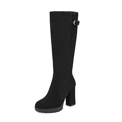 DREAM PAIRS Women's Black Nubuck Platform Chunky Heel Knee High and Up Boots Size 9 M US Katia-1