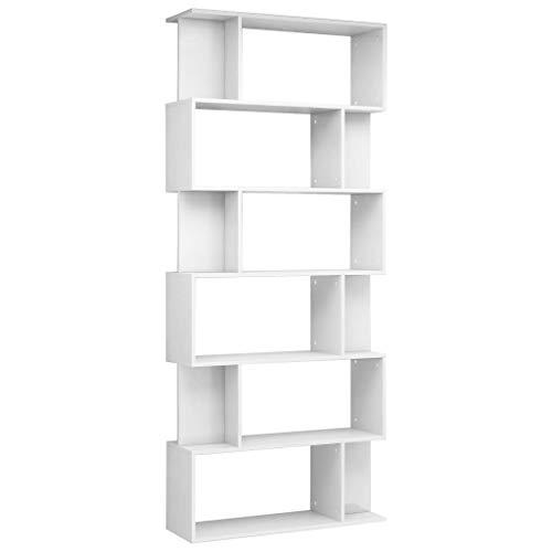 vidaXL Bücherregal Raumteiler mit 6 großen 12 kleinen Fächern Wandregal Standregal Aktenregal Raumtrenner Regal Hochglanz-Weiß 80x24x192cm Spanplatte