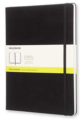 Moleskine Classic Notebook, Taccuino con Pagine Bianche, Copertina Rigida e Chiusura ad Elastico, Formato XL 19 x 25 cm, Colore Nero, 192 Pagine