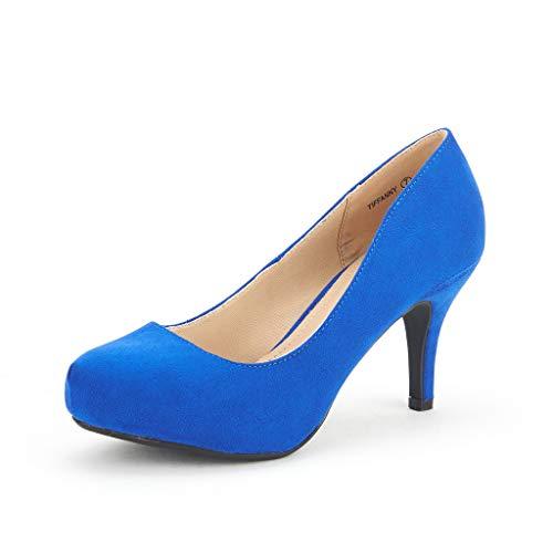 DREAM PAIRS Tiffany Women's New Classic Elegant Versatile Low Stiletto Heel Dress Platform Pumps Shoes Royal-Blue Size 9.5