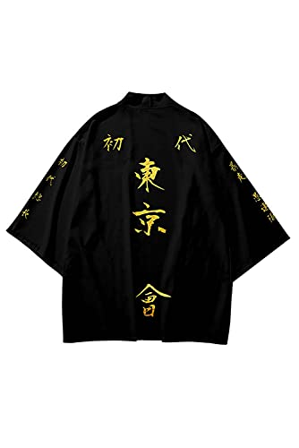 Enhopty Tokyo Revengers Manjiro - Kimono unisex para Halloween, carnaval, disfraz, color negro, 4XL