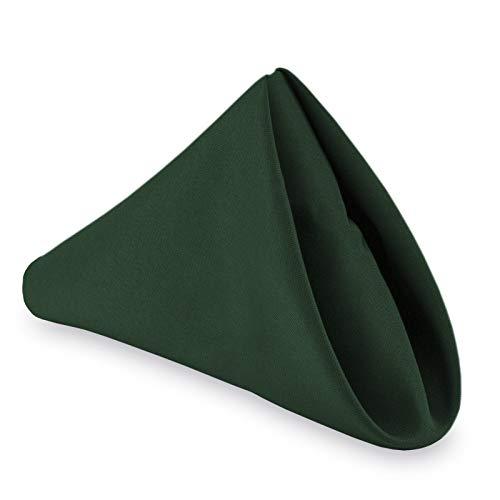 "Lann's Linens - 1 Dozen 20"" Oversized Cloth Dinner Table Napkins - Machine Washable Restaurant/Wedding/Hotel Quality Polyester Fabric - Hunter Green"