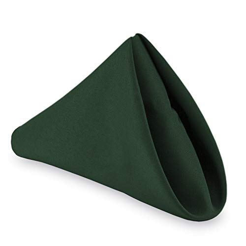 Lann's Linens - 1 Dozen 20' Oversized Cloth Dinner Table Napkins - Machine Washable Restaurant/Wedding/Hotel Quality Polyester Fabric - Hunter Green