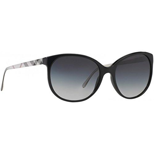Burberry Unisex BE4146 Sonnenbrille, Schwarz (Gestell: schwarz, Gläser: grau-verlauf 34068G), Medium (Herstellergröße: 55)