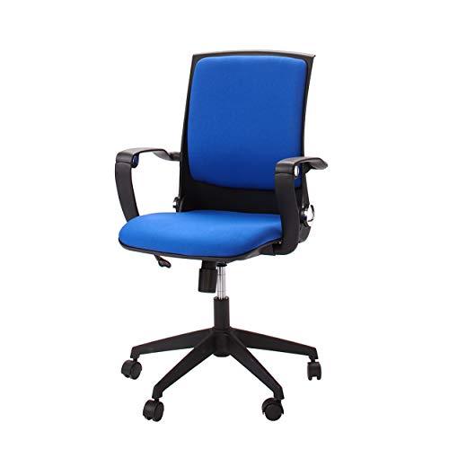 Homemania bureaustoel Eagle zwart blauw verstelbare zithoogte met wielen en armleuningen, PP, stof, eenheidsmaat