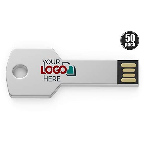 Possibox Memoria USB Llave Personalizada 2GB para Publicidad Pendrive con Logotipo/Texto - al por Mayor - USB 2.0 Plata, 50 Piezas