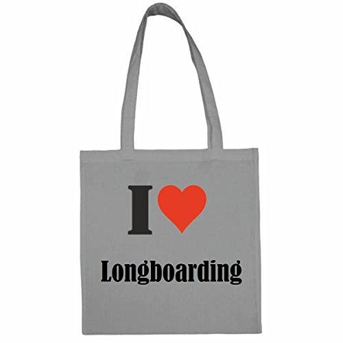 Tasche I Love Longboarding Größe 38x42 Farbe Grau Druck Schwarz