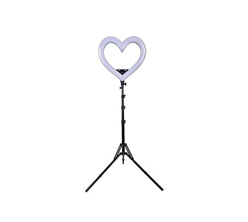 Luz de Relleno en Forma de corazón de 19 Pulgadas RGB con Soporte, teléfono móvil Soporte en Vivo LED Color Beauty Light Photography Light