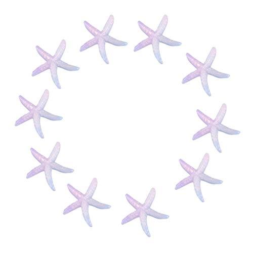 Joysiya 10pcs Resin Starfish Ornaments for Wedding Home Decor and Craft Project - Purple
