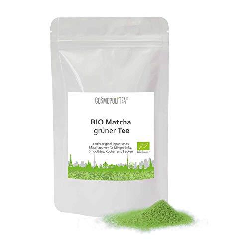 BIO Matcha Tee Pulver - Premium-Qualität - 100g - Beutel wiederverschließbar - gemahlener original Grüner Biotee aus Südjapan - cosmopoliTEA®