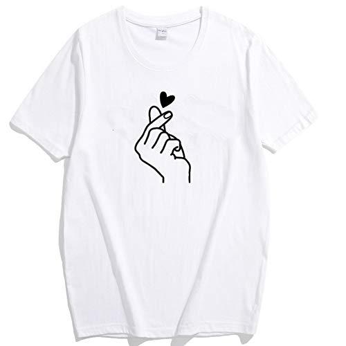 Sommer Neue Finger lieben Sie Herzdruck T-Shirt Damen T-Shirt Tops