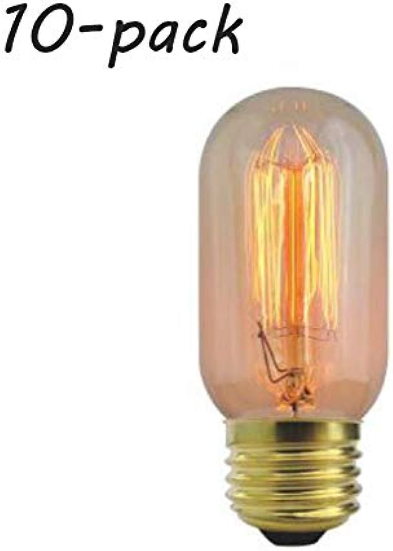 QWER Vintage GlüHbirnen Edison Retro Altmodischer Stil Schraube Birne Dimmable Dekorative Spirale GlüHlampe E27 T45 220 40 Watt Warmwei Lights10 Pack