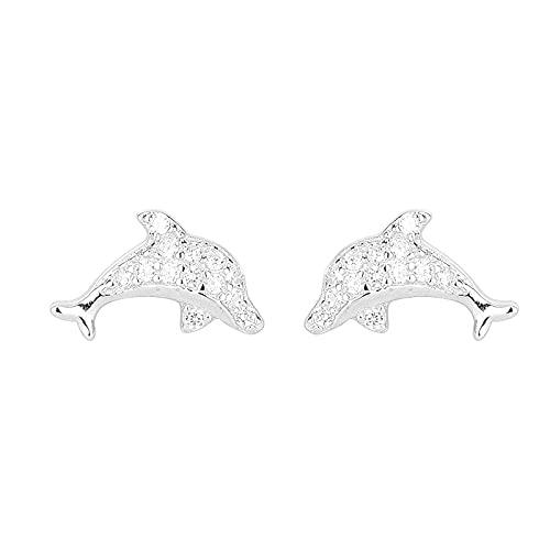 S925 Pendientes de Delfines de Plata Pendientes de circonitas Personalidad