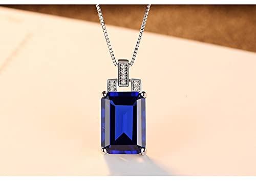 SALAN Collar con Colgante De Zafiro Azul Y Esmeralda Creado por Palace Cutting para Mujer Collar De Cadena con Dijes De Plata De Ley 925