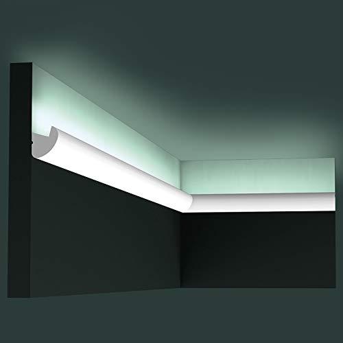 Cornice soffitto parete Orac Decor CX188 AXXENT cornice per illuminazione indiretta modanatura tipo stucco design moderno bianco 2 m