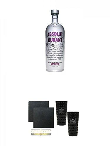 Absolut Vodka Kurant 1,0 Liter + Schiefer Glasuntersetzer eckig ca. 9,5 cm Ø 2 Stück + Three Sixty black Vodka Glas 2 Stück (black)