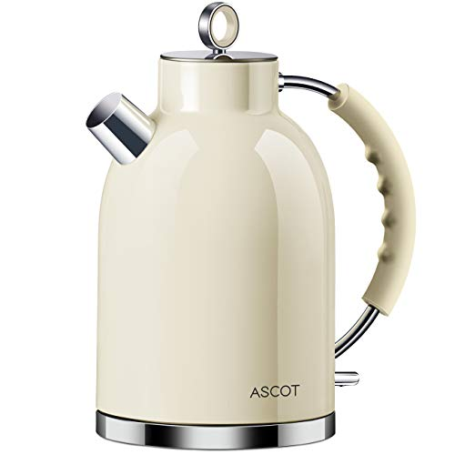 Electric Kettle, ASCOT Stainless Steel Electric Tea Kettle, 1.7QT, 1500W, BPA-Free, Cordless, Automatic Shutoff, Fast Boiling Water Heater -Beige