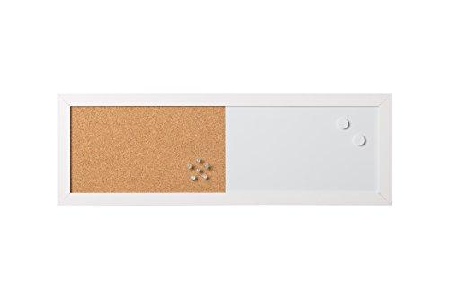 Bi-Office - Combo Pizarra Blanca y Tablón de Anuncios Elements, Magnético, Borrado en Seco/ Corcho, Marco MDF Blanco, 60x20cm