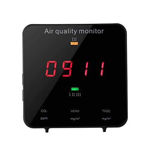 Elikliv Detector de CO2, Medidor de Calidad del Aire para Formaldehído TVOC HCHO, Analizador Multifuncional del Aire para Interior y Exterior