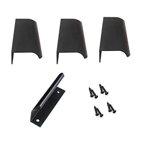 Tirador Moderno para Cajón Alacena Puerta Mueble Armario, 4 Piezas Manija Oculta Invisible/Oculta,Aleación de Aluminio(80mm,Negro)
