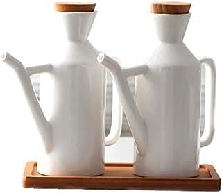 Machine Oil Pot Ceramic Anti-Blow Bottle Dispenser Oil Or Vinegar Olive Oil Utensil Sauce Kitchen 450ML White 2 Parts