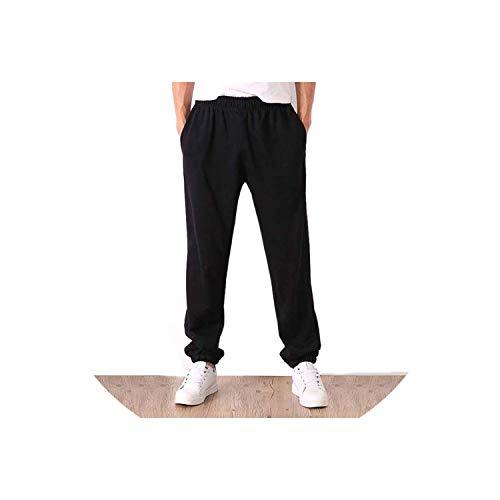 Mannen Effen Baggy Losse Elastische Broek Katoen Joggingbroek Broek Plus Grootte, Zwart Smal, 4XL