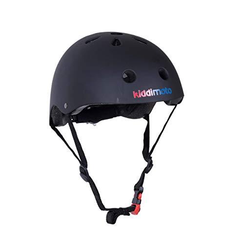KIDDIMOTO Fahrrad Helm für Kinder - CE-Zertifizierung Fahrradhelm - Design Sport Helm für Skates, Roller, Scooter, laufrad - Mattschwarz - M (53-58cm)
