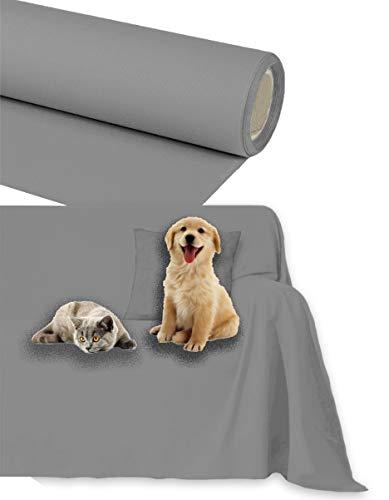 Byour3®️ Funda de sofá Impermeable - protección para Sofás por Mascotas Niños Protector hidrófugo en Algodon Antimanchas Antideslizante para Pelo Gatos Perros (Gris Acero, 2/3 plazas 300x300cm)