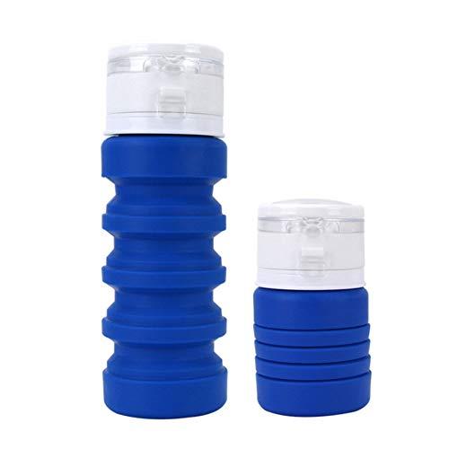 ASR - Botella telescópica de silicona antigoteo para niños, escuela, bicicleta, gimnasio, 400 ml, 20 x 7 cm