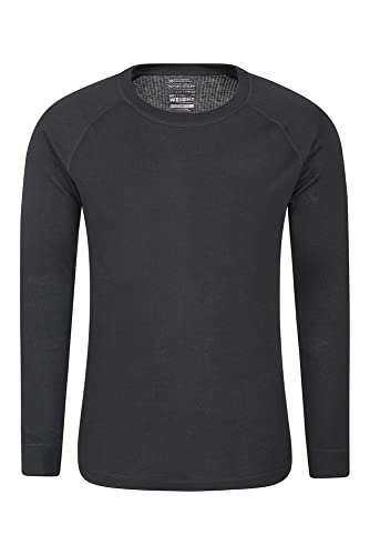 Mountain Warehouse Camiseta térmica Talus para Hombres - Secado rápido, Cuidado fácil, de Mangas largas, con Cuello Redondo, Transpirable, Invierno Negro M