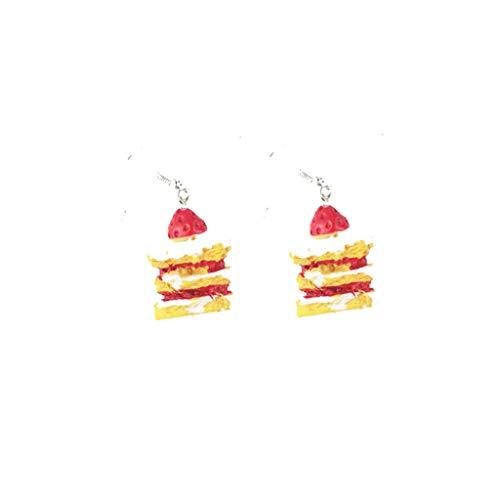 Vektenxi Frauen Mädchen Nette Emulational Lebensmittel Ohrringe Cartoon Kuchen Obst Popcorn Baumeln Ohrringe Langlebig und Nützlich