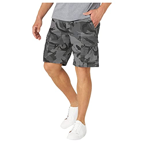 BIBOKAOKE Korte broek heren cargoshorts met meerdere zakken lichte outdoor sweatshorts regular fit casual bermuda shorts camouflage korte werkbroek vrijetijdsshorts mannen loopshorts, zwart11, XL