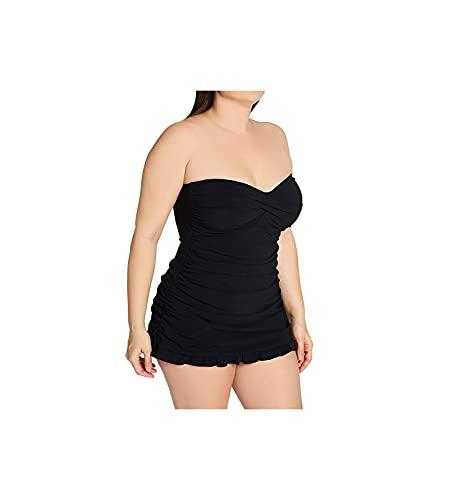 Profile by Gottex Women's Plus-Size Classic Bandeau Swimdress One Piece Swimsuit, Tutti Frutti Black, 16W