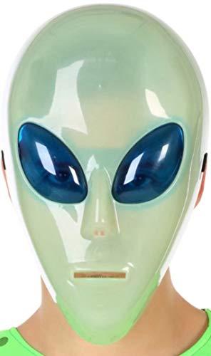 Atosa-58322 Máscara Alien Extraterrestre-Brilla En La Oscur, Color Blanco (58322)