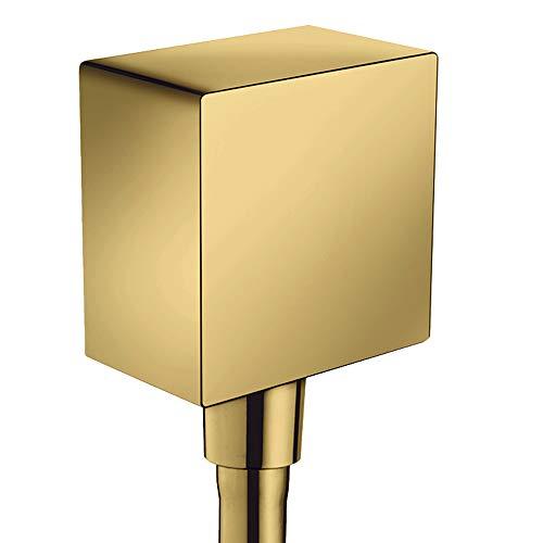 hansgrohe Schlauchanschluss FixFit Square, Wandanschluss mit Rückflussverhinderer, Polished Gold Optic
