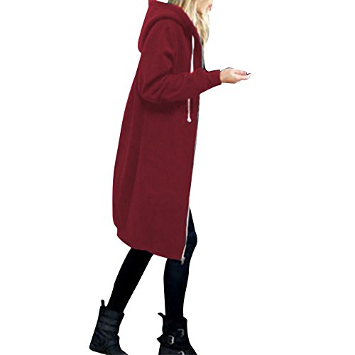 OverDose Damen Herbst Winter Outing Stil Frauen Warm Reißverschluss Öffnen Clubbing Dating Elegante Hoodies Sweatshirt Langen Mantel Jacke Tops Outwear Hoodie Outwear(Rot,EU-42/CN-XL)
