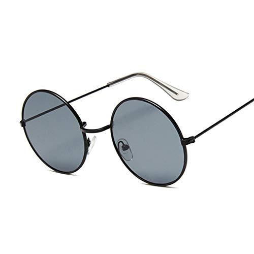 Tanxianlu Gafas De Sol Retro Redondas De Color Rosa para Mujer, Gafas De Sol De Diseñador De Marca para Mujer, Espejo De Aleación, Oculos De Sol para Mujer, Negro,H