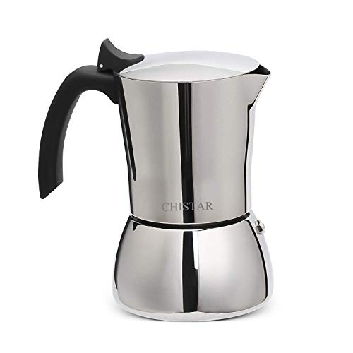 CHISTAR Stainless Steel Induction Stovetop Espresso Maker, Moka Pot Coffee Maker for Full Bodied Coffee, Makes 6 Cups (300ml) of Espresso