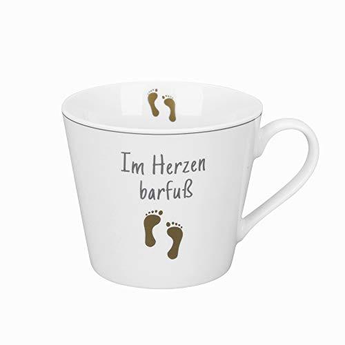 Krasilnikoff - Becher, Tasse mit Henkel - Happy Cup - Im Herzen Barfuss - weiß, grau, Gold - ca. 400 ml - Höhe: 9 cm