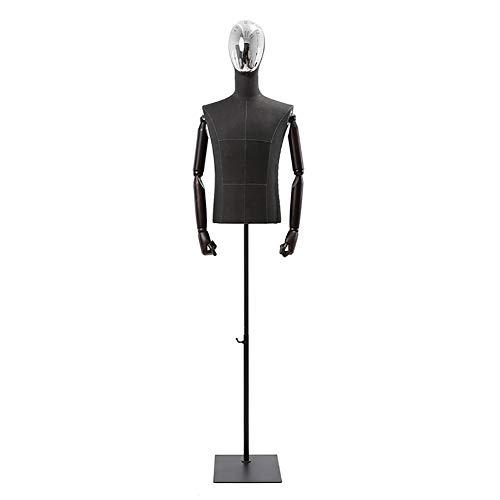 HYDT Maniquí de Masculino Maniquí Portátil de Medio Cuerpo Masculino con Cabeza Chapada y Brazos Flexibles, para la Exhibición de la Ropa Decor de la Ventana de la Tienda (Color : Silver Face)