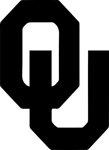 """OU Initial Logo Stickers Oklahoma Sooners Symbol 5.5"""" Decorative DIE Cut Decal for Cars Tablets LAPTOPS Skateboard - White"""