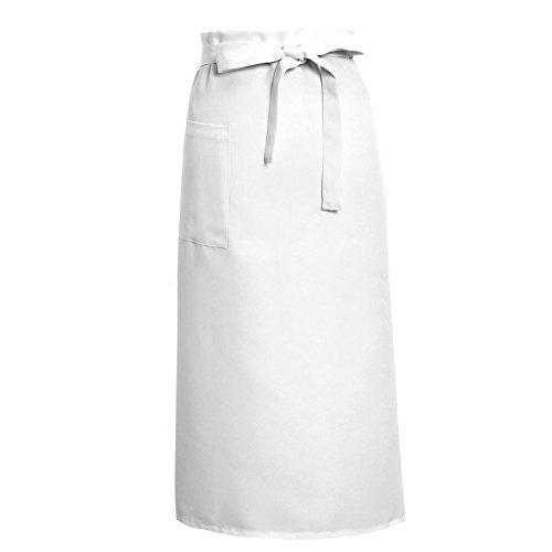 Kcnsieou Weiße nützliche Küchenschürze, halblang, lange Taille, Schürze für Catering, Kellner, Uniform