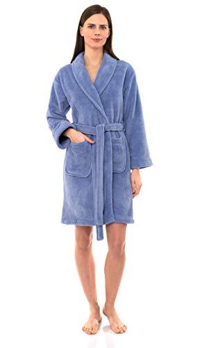 TowelSelections Women's Robe, Plush Fleece Short Spa Bathrobe Medium Deep Periwinkle