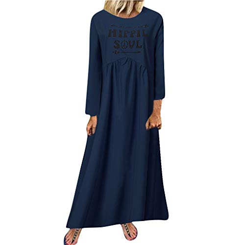 Find Bargain NANTE Top Loose Women's Dress Hippie Soul Printing Fold Long Dresses Long Sleeve Length...