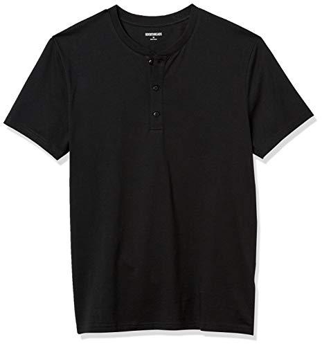Goodthreads Cotone a Maniche Corte Henley Shirts, Nero, S