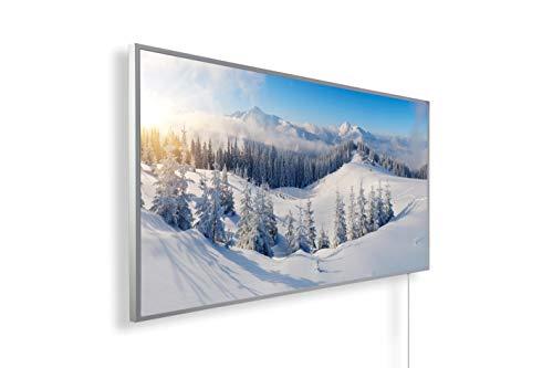 Könighaus Infrarotheizung – Bildmotiv – 1200 Watt + Smart Thermostat + Könighaus APP - Weißer Rahmen (07. Schneelandschaft)