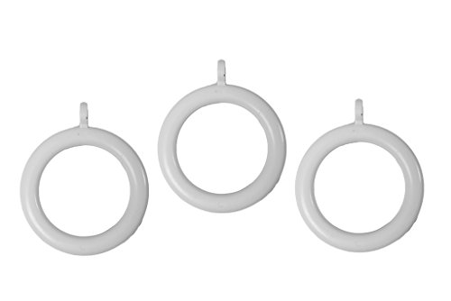 Merriway BH03243 Plastic Curtain Drapery Pole Rod Rings with Fixed Eye, Inner Dia.37mm (1.7/16 inch) Outer Dia.50mm (2 inch) - White, Pack of 24
